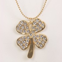 Gold Rhinestone Lucky Charm Pendent Necklace