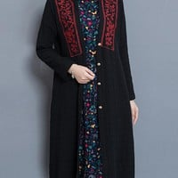 New Women Embroidered Long Sleeve Vintage Mid-Long Thin Coats