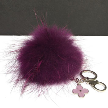 Fur Pom Pom keychain luxury bag charm pendant clover flower keychain keyring in deep purple with natural tips