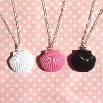 Mermaid seashell locket necklace