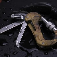 Multi Tool Carabiner with LED Light Camping Mountaineering
