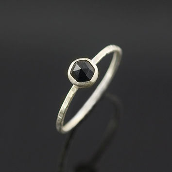 Dark Sparkle Ring with Rose Cut Spinel - Recycled Silver
