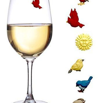 Simply Charmed Magnetic Wine Charms Set of 6 Bird Glass Markers to Identify Your Drink  Great Way to Personalize Stemless Glasses