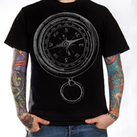 Ship's Compass Vintage Illustration T-Shirt - Nautical Shirt - Grey on Black - Sizes small - 3XL