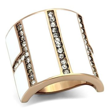 Ion Plated Rose Gold Stainless Steel, Enamel & CZ Ring