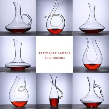 1PCS Wine Decanter 100% Hand Blown Lead-free Crystal Glass Red Wine Carafe Wine Gift Wine Accessories ePacket Free Shipping