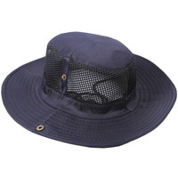 Navy Blue Mesh Detailing Fisherman Bucket Hat Cap