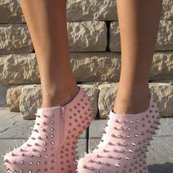 Baby pink studded ankle boots (Fierce) from Chockers Shoes