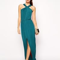Love Slinky Jersey Halter Neck Maxi with Wrap Waist