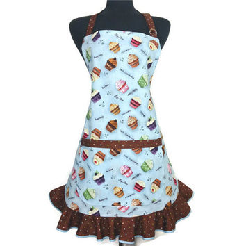 Cupcake Apron for Women , Blue with chocolate polka dot ruffle , Retro Kitchen Decor