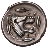 Ancient Greek Sicily Tetradrachm Coin from Leontini, 450 BC