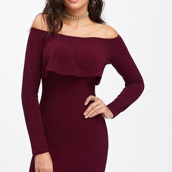 Long Sleeve Mini Dress Women Winter Dresses Women Sexy Party Burgundy Off The Shoulder Ruffle Dress