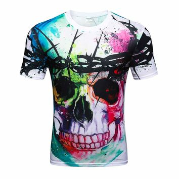 Mens T Shirts  3D Printed Short Sleeve O Neck  Skull Head Fashion Casual O Neck Men Shirt Brand Clothing