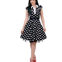1950s Style Black & White Polka Dot Cap Sleeve Button Up Picture Day Swing Dress