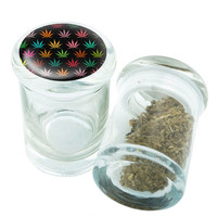 Stash Jar - Glass Pop Top - Leaf Pattern  - Storage Container -  Custom Herb Grinder Secret Stash Box - Stay Fresh Herbs 1/6 oz.