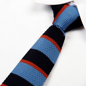 Blue, Dark Blue, and Orange Striped Knit Tie