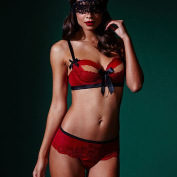 BlueBella, Eloise 1/4 Cup Bra adorned in luxurious lace, ribbons and satin bows at figleaves.com