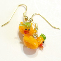 Yellw Rubber Duck Lampwork Bead Earrings with Green Hat - St Patrick's Day