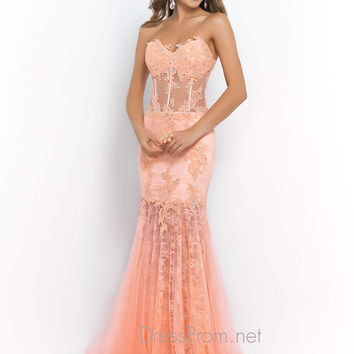 Colored Lace Blush Tulle Prom Dress 9996