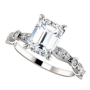 amelia ring - emerald cut moissanite engagement ring, diamonds, 14k white gold