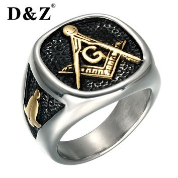 D&Z Vintage Gold Color Men Masonic Ring Casting 316L Titanium Stainless Steel Freemasonry Masonic Rings for Men Jewelry
