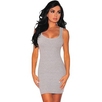 Gray Scoop Neck Body-hugging Mini Tank Dress