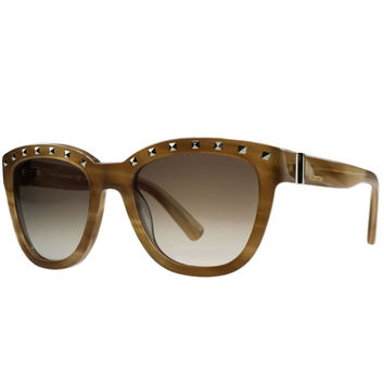 Valentino Striped Honey Wayfarer Sunglasses