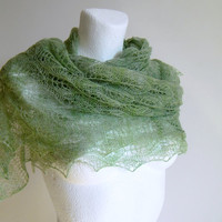 Light Green Spring Hand Knit Lace Shawl Luxury Cashmere