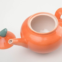 Orange handmade glazed painted clay teapot kitchen decor unusual gift ideas