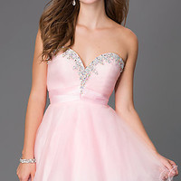 Short Strapless Sweetheart Dress with Corset Back