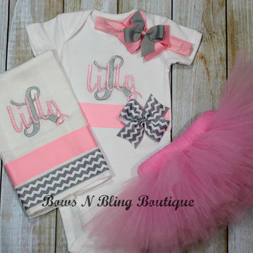 Pink and Grey Monogram Baby Newborn Tutu Outfit Bodysuit, Burp Cloth, Tutu