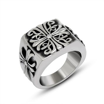 Shiny New Arrival Gift Jewelry Stylish Vintage Cross Men Titanium Accessory Ring [6526801795]