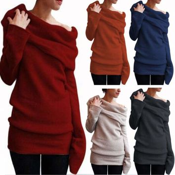 Womens Cowl Neck Loose Long Sleeve Knitted Sweater Jumper Pullover Shirt Tops