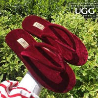 UGG sells women's casual flip-flops and fashionable velvet sandals Burgundy