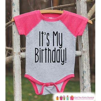 Kids Birthday Shirt - It's My Birthday Shirt or Onepiece - Baby Girl, Youth, Toddler, Birthday Outfit - Pink Baseball Tee