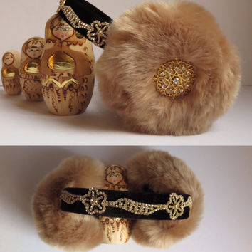 Embellished earmuffs, beaded faux fur earmuffs, OOAK ear warmers, plush ear muffs, fluffy earmuffs, OOAK gift for Christmas