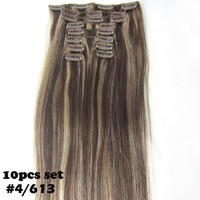 "16""-32'' 10pcs Set 100% Brazilian Remy Hair Clip In/on Human Hair Extensions #4/613 120g 140g 160g 180g 200g 220g"