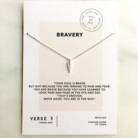 Sterling Silver Arrowhead Necklace/ Inspirational Jewelry/BRAVERY Necklace/Meaningful Gift