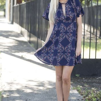 Keyhole Printed Fit N Flare Babydoll Dress