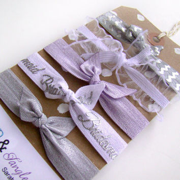 Bridesmaid Gift, Bridesmaid Hair Ties, Wedding Favor, FOE, Pastel Hair Ties, Small Gift, Lavender, Silver, Chevron