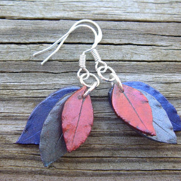 Leaf Earrings  Red Silver and Purple Polymer Clay  by JustClayin