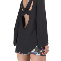 Black Cross Back Loose Fitting Chiffon Blouse