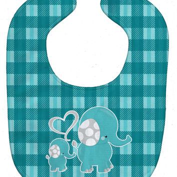 Plaid Momma and Baby Elephant Baby Bib BB6839BIB