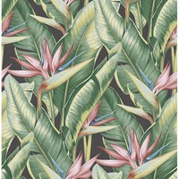 Brewster Wallpaper PS40201 Arcadia Pink Banana Leaf