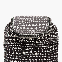 Stella Mccartney Black And Cream Heart-print Rucksack