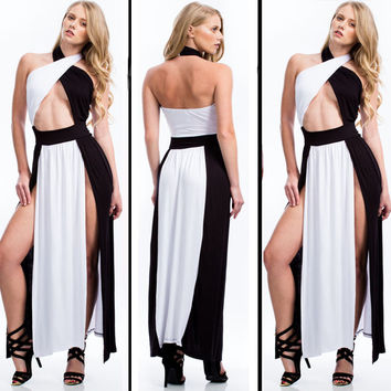 White and Black Halter Front Cut Out Backless Double Slit Maxi Dress