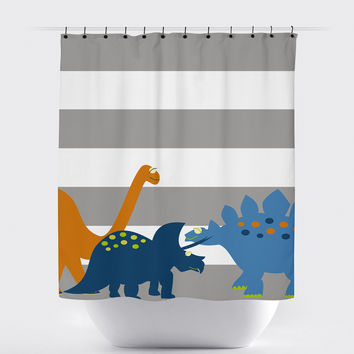 Gray Striped Dinosaur Shower Curtain