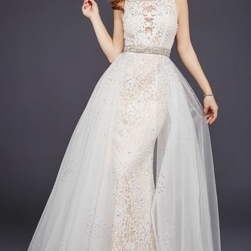Off-White Sleeveless Lace Prom Dress #36805