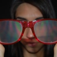 Rainbow Vision Diffraction Lenses Raver Shades- Transparent Red