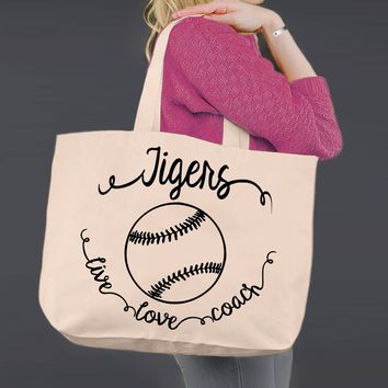 Softball Coach | Personalized Canvas Tote Bag